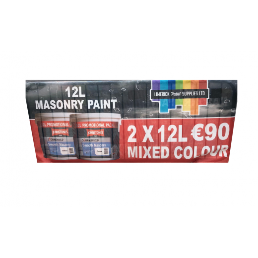 2 X 12ltr Johnstone's Smooth Masonry Paint - Mixed Colours